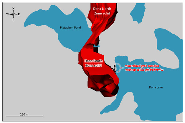 Mineralized surface grab sample locations at Dana South Zone