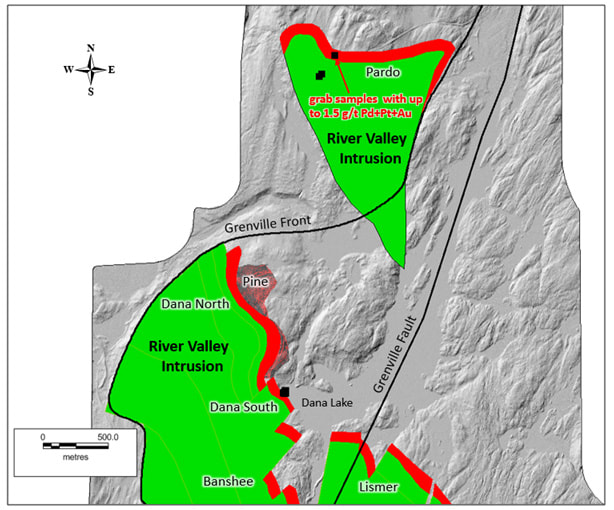 Location of the Pardo mineralized zone - Dana North and Pine Zones