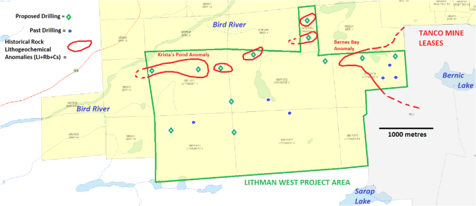 Lithman West historic rock lithogeochemical anomalies